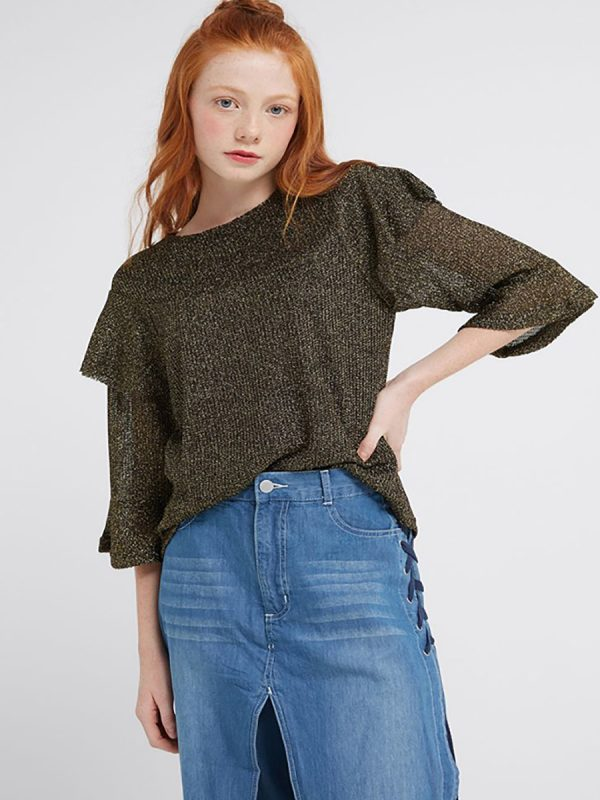 Layered Sleeves Top Blk Gold