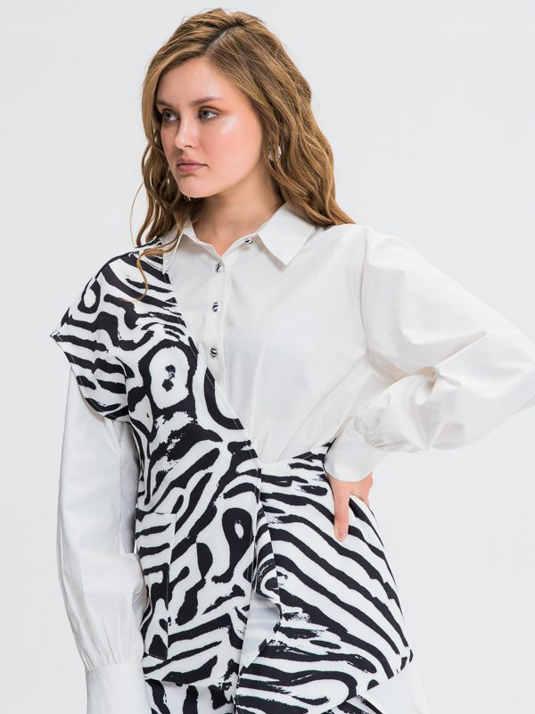 Women Top Contrasted Colors Long Top