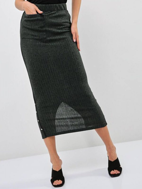 Button Accent Fitted Skirt