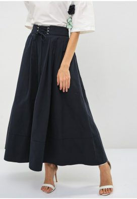 Long Blue Poplin Skirt