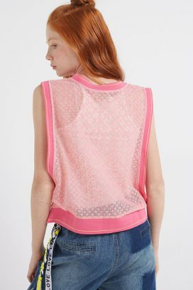 Lace Sleeveless Top Pink