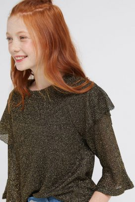 Layered Sleeves Top Blk /Gold