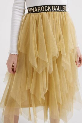 Cream Contrast Mesh Skirt
