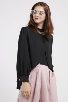Embellished Neck Top Black