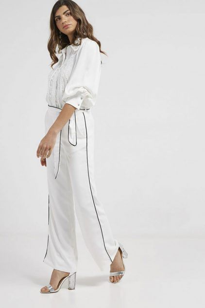 Trouser With Belt Off White