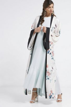 Flower Printed Cape White