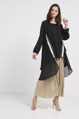 Long Sleeves Tunic Black/White