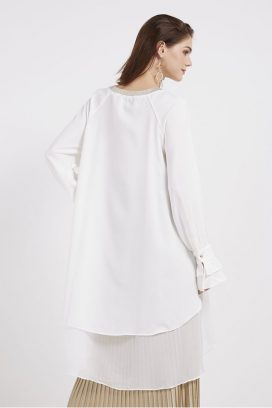 Long Sleeves Tunic White/Black
