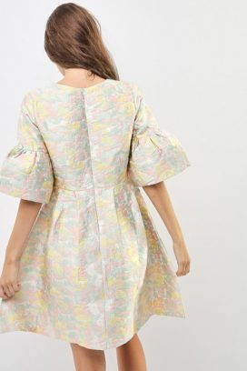 Puff Sleeve Brocade Dress