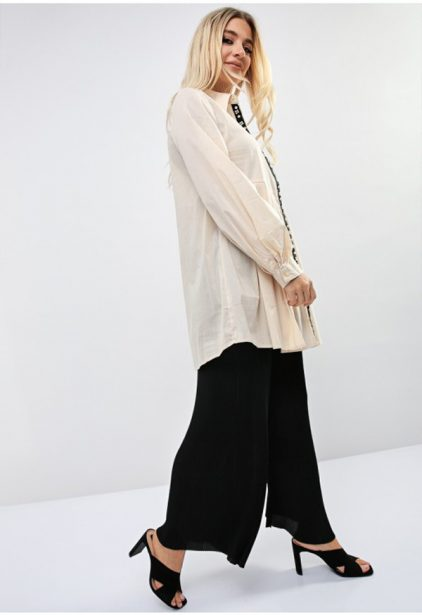 Beige Button Cuff Sleeve Shirt