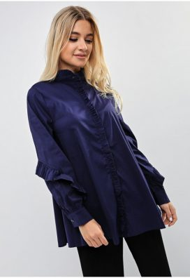 Blue Ruffled Placket Shirt