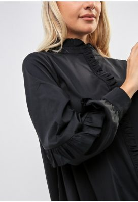 Black Ruffled Placket Shirt