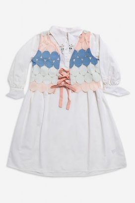 Lace  Waist Tie Kids Dress