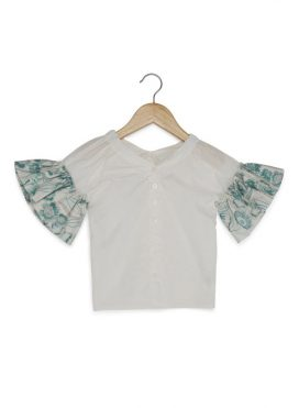 Floral Sleeves Top White/Green