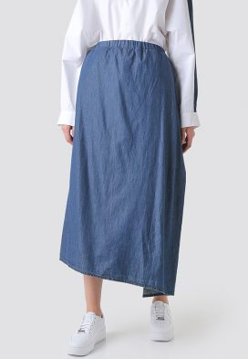 Wrap Front Denim Skirt