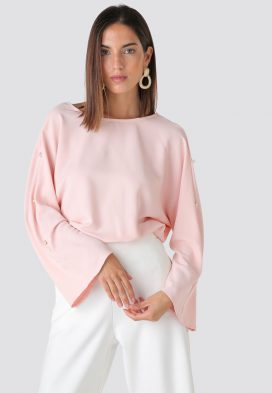 Pearl Detail Sleeve Blouse