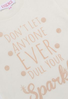Sparkle Slogan Print Kids Top