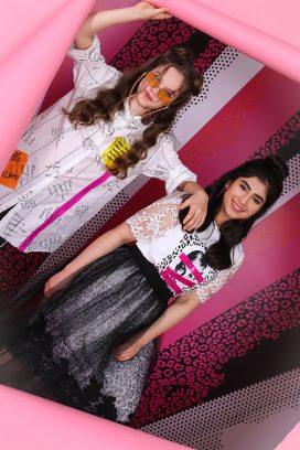 Graphic Print Lace Youth Top