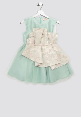 Pleated Insert Kids Dress