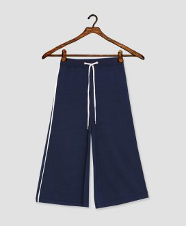 Wide Strapped Navy Trouser