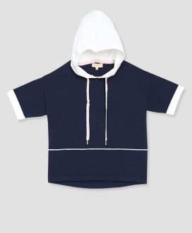 Navy and White Hooded Knit Top