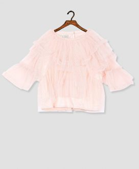 Girls Pink Tulle Layered Top