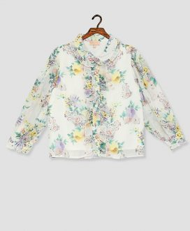 Girls White Multi Floral Top