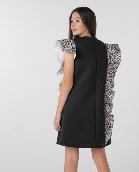 Leopard Print Asymmetric Youth Dress