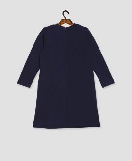 Navy Block Long Sleeve Dress