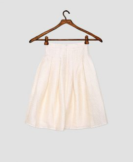 Off-White and Gold Pleated Skirt