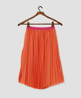 Orange Pleated Mesh Skirt