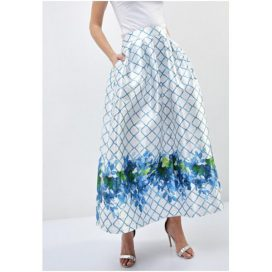 Leaves Print Maxi Skirt