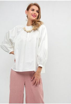 Embellished Neck Blouse White