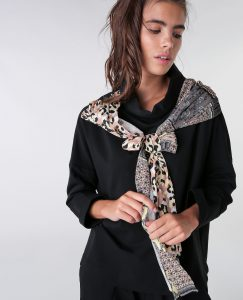 Scarf Attached Blouse