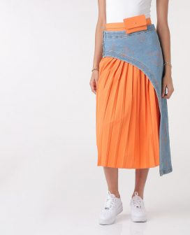Multi Denim Pleated Midi Skirt