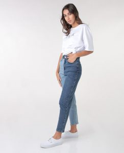 Two-Tone Denim Straight Jeans