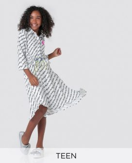 Youthful Print Shirt Dress