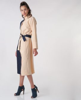 Two-Tone Belted Dress