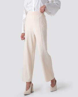 Cream Elasticated Trousers