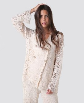 Nude Lace Detail Jacket