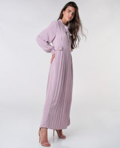 Tie Neck Pleated Dress
