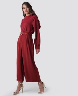 Red Belted Wide Leg Trousers