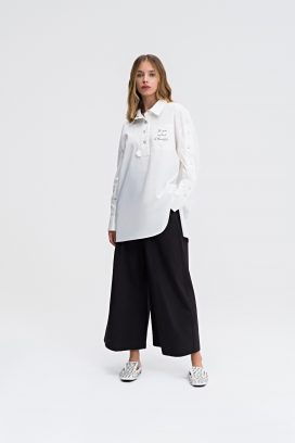 Strapped Black Palazzo Trouser
