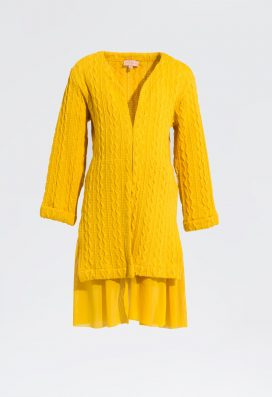 Yellow Front Open Cardigan
