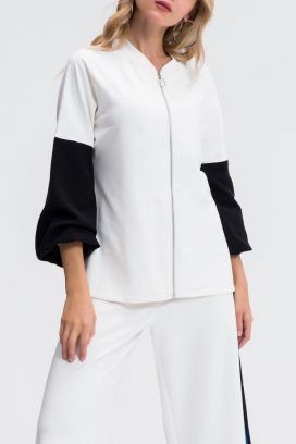 Contrast Sleeve Sporty Blouse