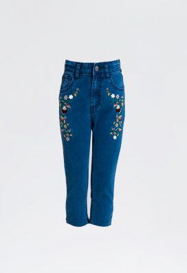 Denim Printed Trouser