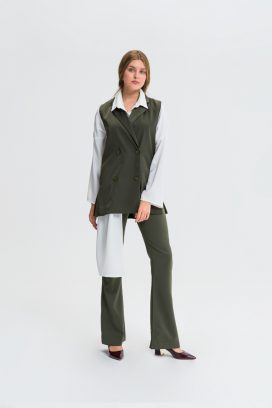 Khaki  Notched Collar Vest