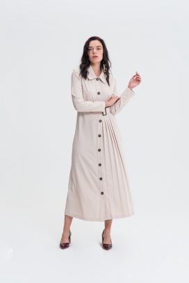 Beige Full Sleeves Shirt Dress