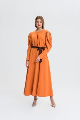 Strapped Orange Maxi  Dress
