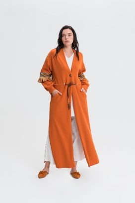 Belted Orange Cardigan